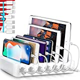 Poweroni USB Charging Station Dock - 6-Port - Fast Charge Docking Station for Multiple Devices - Multi Device Charger Organizer - Compatible with iPad iPhone and Android Cell Phone and Tablet - White