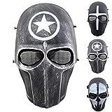 Outgeek Airsoft Mask Full Face Protective Mesh Mask Skull Mask for Costume(Defender)