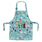 BeeGreen Apron for Kids with Adjustable Strap Cute Children Aprons for Cooking Painting Gardening, Flowers