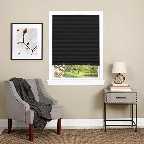 Achim Home Furnishings 123CO48B24 Cordless 1-2-3 Vinyl Room Darkening Pleated Window Shade, 48' x 75', Black