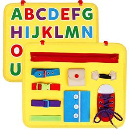Vanmor Toddler Busy Board with ABC, Montessori Basic Skills Board Learn to Dress and Alphabet, Fine Motor Activity Board for Preschool Kids, Educational Sensory Toy for Kindergarten Classroom Airplane