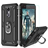 LeYi LG Tribute Empire Case,LG Aristo 3/Aristo 2/Rebel 4 LTE/Aristo 2 Plus/Phoenix 4/Tribute Dynasty/Zone 4 Phone Cases with HD Screen Protector, Magnetic Car Mount Ring Holder Stand Cover, Black