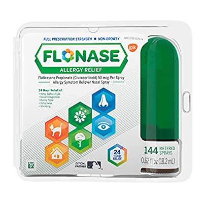 One 144-spray bottle of Flonase Allergy Relief Nasal Spray, 24 Hour Non Drowsy Allergy Medicine, Metered Nasal Spray, stops your body from overreacting to allergens Containing the most prescribed allergy medication**, Flonase relieves runny nose, sne...