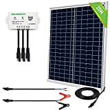 ECO-WORTHY 25 Watts 12V Off Grid Solar Panel SAE Connector Kit: Waterproof 25W Solar Panel + SAE Connection Cable +USB Controller for Light