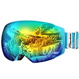 OutdoorMaster Ski Goggles PRO - Frameless, Interchangeable Lens 100% UV400 Protection Snow Goggles for Men & Women ( Light Blue Frame VLT 13% Grey Lens with Full REVO Gold and Free Protective Case )