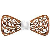 BOBIJOO Jewelry - Noeud Papillon Bois Teck Dentelle Arabesque Fait Main Artisan Réglable au Choix - Ajustable, N04