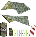 Gold Armour Rainfly Tarp Hammock, 14.7ft/12ft/10ft/8ft Rain Fly Cover, Waterproof Ultralight Ripstop Fabric, Survival Gear Backpacking Camping Tent Accessories (Camouflage, 12ft x 10ft)
