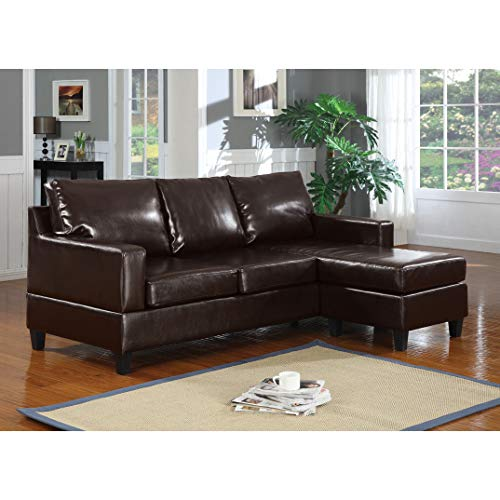 ACME Vogue Reversible Chaise Sectional Sofa with Espresso Bonded Leather