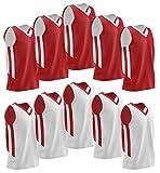 Liberty Imports 10 Pack - Reversible Men's Mesh Performance Athletic Basketball Jerseys - Adult Team Sports Bulk (Red/White)