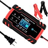 SUHU Car Battery Charger, 12V/8A 24V/4A Smart Automatic Battery Charger Maintainer Trickle Charger for Car Truck Motorcycle Lawn Mower Boat Marine RV SUV ATV SLA Wet AGM Gel Cell Lead Acid Battery
