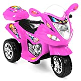 Best Choice Products Kids 6V Electric 3-Wheel Motorcycle Ride On, LED Lights/Sound, Storage, Pink