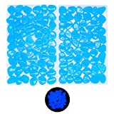 Foneeus Aquarium Decorations Fish Tank Rocks, 100 Pcs Blue Glow in The Dark Aquarium Gravel Decor, Decorative Rock Stones for Betta Fish Tank, Bonsai Plant Pots, Resin Pebbles Accessories