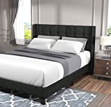 Allewie Queen Size Platform Bed Frame with Wingback/Fabric Upholstered Square Stitched Headboard and Wooden Slats/Mattress Foundation/Box Spring Optional/Easy Assembly, Grey