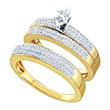 Sizes - L = 7, M = 10 - 10k Yellow and White 2 Two Tone Gold Mens and Ladies Couple His & Hers Trio...