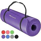 REEHUT - Esterilla de ejercicio NBR para yoga, 12 mm, extra gruesa, de alta densidad, multiusos, para pilates, fitness y entrenamiento, con correa de transporte, color morado