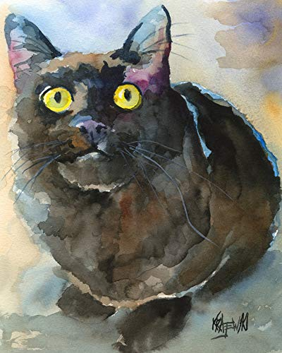 "Black Cat Art Print | Black Cat Gifts | From Original Watercolor Painting by Ron Krajewski | Hand Signed in 8x10"" and 11x14"" Sizes"