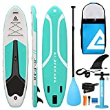 Leader Accessories Inflatable Stand Up Paddle Board 10'6'x33'x6' ISup for All Skill Levels with SUP Accessories Including Adjustable Paddle, Backpack, Leash, Hand Pump (Shark - Green)