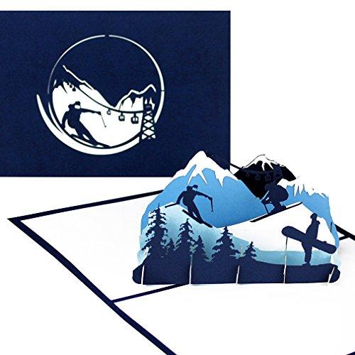"""Pop Up Karte """"Ski & Snowboard"""" - 3D Geburtstagskarte, Einladungskarte & Geschenkgutschein –..."""