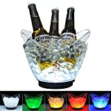 TECKCOOL LED Ice Buckets, Clear Acrylic 3 Liter Ice Bucket Colors Changing LED Cooler Bucket, Champagne Wine Drinks Beer Bottles, Power by 2 AA Batteries, Holds 4 Full-Sized Bottles and Ice