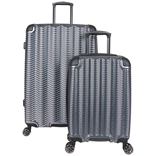 Kenneth Cole Reaction Wave Rush' 2-Piece 20'/28' Lightweight Hardside 8-Wheel Expandable Luggage Set, Metallic Charcoal