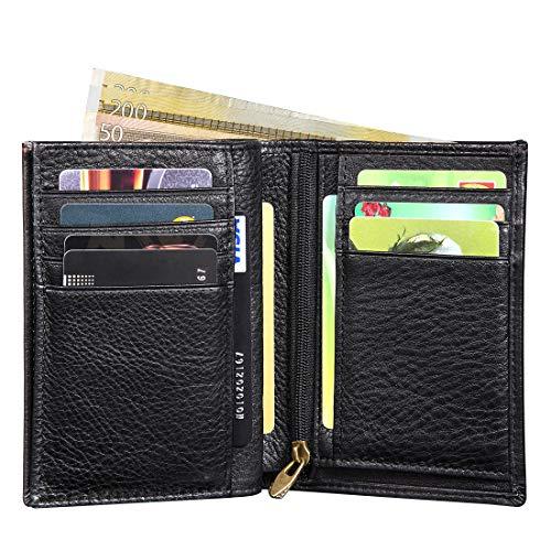 Portefeuille Homme RFID Blocage,LENSUN Bifold Portefeuille en Cuir Pur pour...