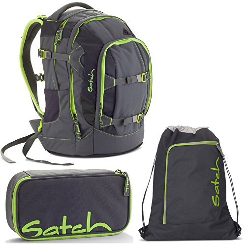 Satch Pack by Ergobag Phantom 3er Set Schulrucksack + Schlamperbox + Turnbeutel
