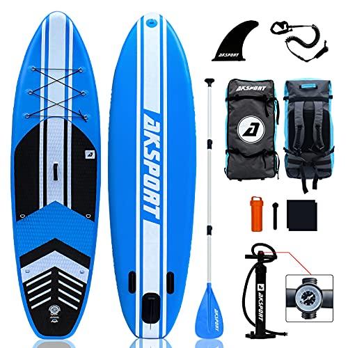 AKSPORT SUP Board Set | Tavola gonfiabile Stand Up Paddle Board | 320 x 81 x 15 cm | 6 pollici di spessore | Premium Surfboard | Accessori completi