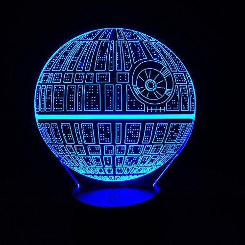 AlienTech Star Wars - Lámpara de mesa con interruptor, luz nocturna 3D de la Estrella de la Muerte,...