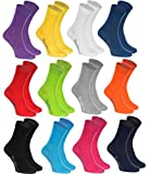 Rainbow Socks - Femme Homme Chaussettes Colorées en Coton - 12 Paire - Noir Blanc Gris Violet Bleu marine Jeans Orange Rouge Jaune Vert Sarcelle Fuchsia Vert - Taille 42-43