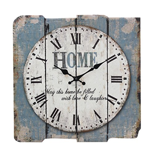 Stonebriar SB-6158A Worn Blue 15' Square White Wall Clock