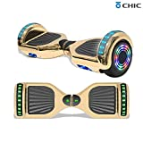 TPS 6.5' Hoverboard Electric Self Balancing Scooter with Wireless Speaker and LED Lights for Kids and Adults - UL2272 Safety Certified (Metallic Gold)