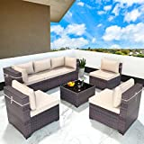 Gotland 7 Piece Outdoor Patio Furniture Sets All-Weather Outdoor Sectional Furniture PE Wicker Patio Sofa Backyard Deck Couch Conversation Chair Set with Coffee Table & 6 Thickened Cushions (Brown)