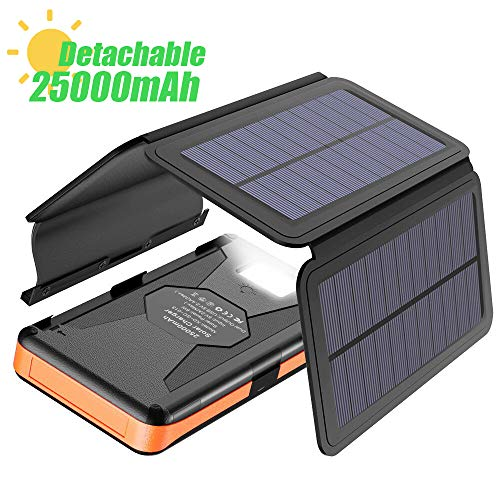 Caricatore Solare X-DRAGON 25000mAh Power Bank con 4 Pannelli Solari, Dual USB, Torcia LED per...