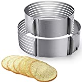 2pcs Adjustable Layer Cake Slicer 9'-12' and 6'-8' Stainless Steel Multi Layered Cake Ring Circular Cutter Baking Tool Kit Mousse Mould for Women Wedding Christmas Mothers Day Gift (Cake Slicer)
