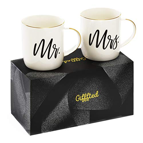Triple Gifffted Mr and Mrs Coffee Mugs Gifts, For Wedding,...
