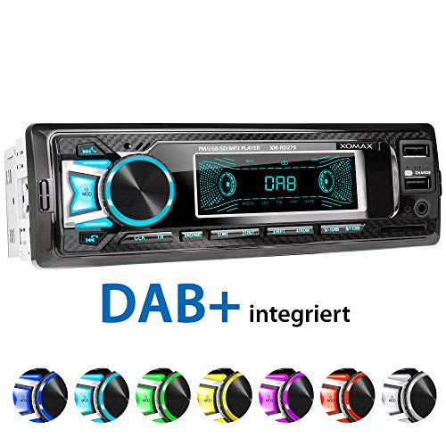 XOMAX XM-RD275 Autoradio mit DAB+ Tuner und Antenne I FM RDS I Bluetooth Freisprecheinrichtung I...