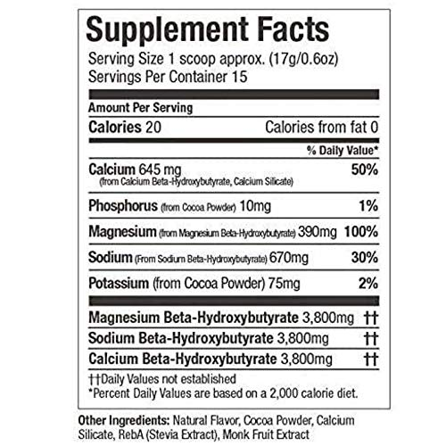 Exogenous Ketones Powder, BHB Beta-Hydroxybutyrate Salts Supplement, Best Fuel for Energy Boost, Mental Performance, Mix in Shakes, Milk, Smoothie Drinks for Ketosis – New Chocolate, 9.0 oz (255 grs) 3