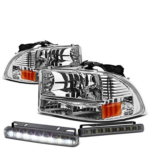 Replacement for Dodge Dakota/Durango Chrome Housing Amber Corner Headlight+Smoked DRL 8 LED Fog Light