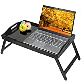Bed Tray Table with Folding Legs Kitchen Breakfast Food Tray Platters Serving Tray Foldable TV Table Laptop Computer Desk Snack TrayLarge Size(Black)
