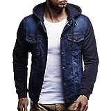 Jean Hoodie avec Capuche Homme Slim,Overdose Automne Hiver Manteau Veste Vintage Jeans Denim Jacket Casual (XXL, Bleu)