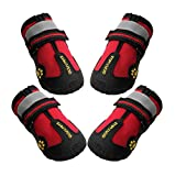 QUMY Dog Boots Shoes for Large Breed Dogs with Reflective Velcro Rugged Anti-Slip Sole 4PCS/Set