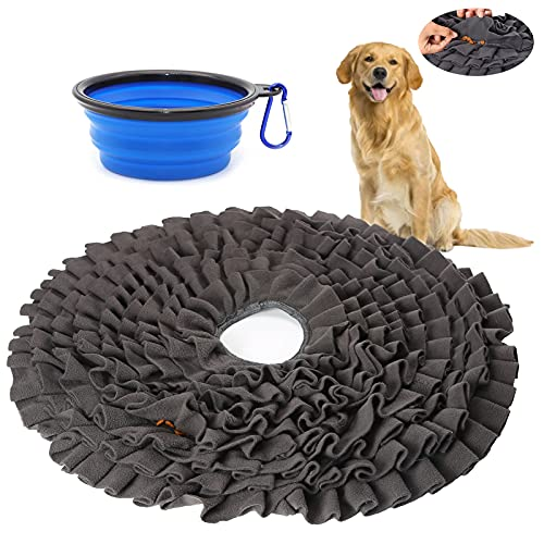 """PLAMYWJ 18"""" Pet Snuffle Mat, Dog Feeding Game Enrichment Dog Interactive Toys Stress Relief Smell Training Slow Eating Food Treat Nosework for Natural Foraging for Small/Large Dogs"""