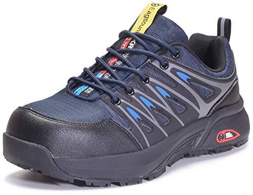 Zapatos de Seguridad para Hombre Zapatillas de Trabajo con Puntera de Acero,Calzado de Industrial y Deportiva,Azul,43
