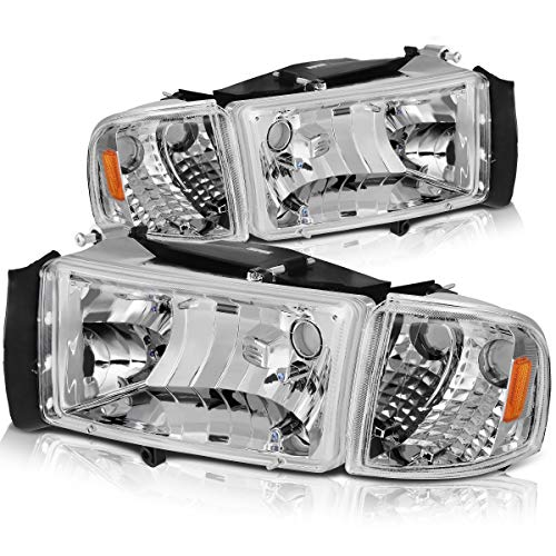 DWVO Compatible with 94-01 Dodge Ram 1500/94-02 Dodge Ram 2500 3500 Headlight Assembly OE Style Replacement Chrome Housing + Corner Lights