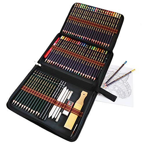 Acquerellabili Matita Set e kit per disegnare, Set da 72 pezzi di matite da disegno e per schizzi presentate con cura in un astuccio con zip, Kit Disegno Set Artista per Principianti Bambini Adulti