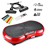 Vibration Plate Machine, Whole Body Fitness Vibration Platform with Remote Control and Resistance Bands for Weight Loss Toning (Red)