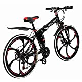 Visdron Folding Mountain Bikes, 21 Speed Tolan Disc Brake/MTB Break Lever, Full Suspension 6-Spoke 26 Inches Anti-Slip Bicycle for Man/Woman/Teen