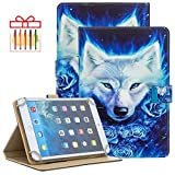 Popbag Universal Case for 9.6-10.5 Inch Display Tablet - Slim Stand Wallet Cute Case for Samsung Tab 9.7/10.1 & iPad 7th Generation 10.2 & Dragon Touch 10' & MatrixPad Z4 Pro 10.1 Inch-White Wolf