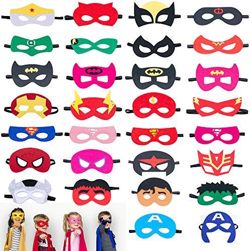 Omew Máscaras de Superhéroe, Accesorio de Fiesta Infantil y Adultos,Máscaras de Fieltro Mitad Máscara de Cosplay con Cuerda Elástica Máscaras de Ojos para Niños Mayores de 3 años(30 Pcs)