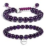 JADENOVA 8/10mm Natural Amethyst Gemstone Bracelet Elastic Stretch Yoga Beaded Bracelet Bangle Healing Crystal Bracelet Couples Gifts for Men Women (2pcs Bracelet Set)